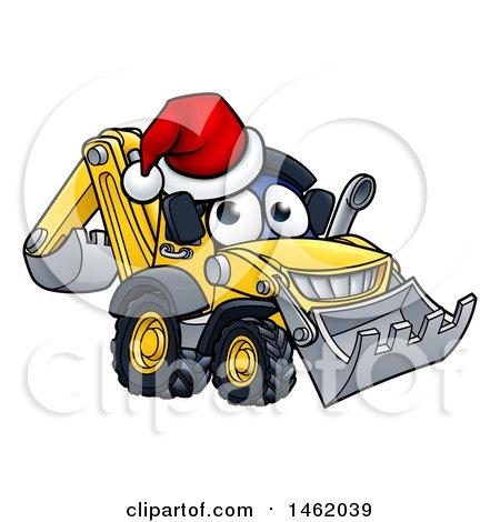 Clipart of a Cartoon Digger Bulldozer Mascot Wearing a Santa Hat - Royalty Free Vector Illustration by AtStockIllustration