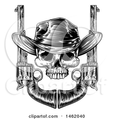 Clipart of a Black and White Engraved or Woodcut Styled Cowboy Skull and Pistols - Royalty Free Vector Illustration by AtStockIllustration