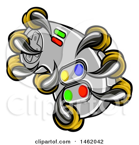 Clipart of a Eagle Talons or Claws Holding out a Video Game Controller - Royalty Free Vector Illustration by AtStockIllustration