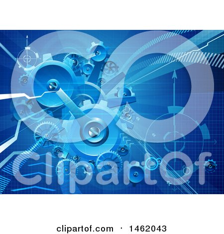 Clipart of a Blue Business Background of Gears and Arrows - Royalty Free Vector Illustration by AtStockIllustration