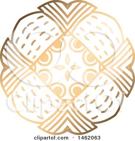 Clipart of a Golden Kaleidoscope Design Element - Royalty Free Vector Illustration by KJ Pargeter