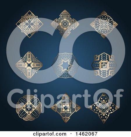 Clipart of Golden Kaleidoscope Design Elements on Blue - Royalty Free Vector Illustration by KJ Pargeter
