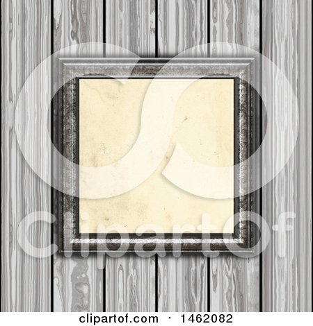 Clipart of a 3d Blank Picture Frame on a Wood Paneled Wall - Royalty Free Illustration by KJ Pargeter