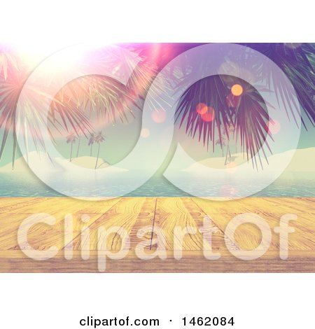 Clipart of a 3d Wooden Dock Against a Tropical Ocean with Palm Branches and Flares - Royalty Free Illustration by KJ Pargeter