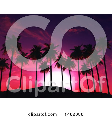 Clipart of a 3d Pink and Purple Sunset Sky and Palm Trees - Royalty Free Illustration by KJ Pargeter