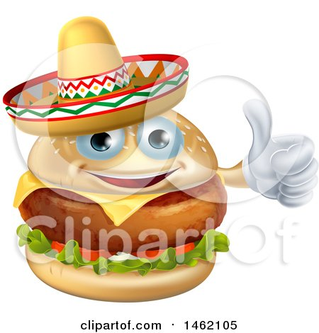 Clipart of a Cheeseburger Mascot Wearing a Mexican Sombrero and Giving a Thumb up - Royalty Free Vector Illustration by AtStockIllustration