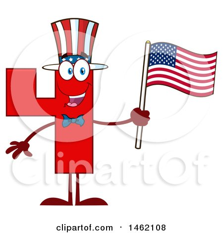 Clipart of a Patriotic Red Number Four Mascot Character Holding an American Flag - Royalty Free Vector Illustration by Hit Toon