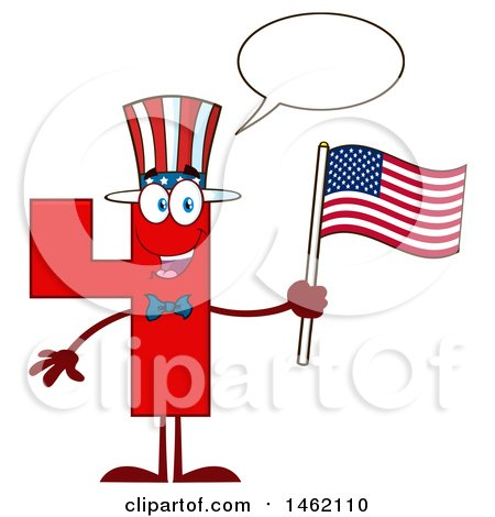 Clipart of a Patriotic Red Number Four Mascot Character Holding an American Flag and Talking - Royalty Free Vector Illustration by Hit Toon