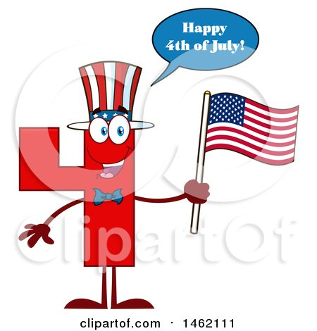 Clipart of a Patriotic Red Number Four Mascot Character Holding an American Flag and Saying Happy 4th of July - Royalty Free Vector Illustration by Hit Toon
