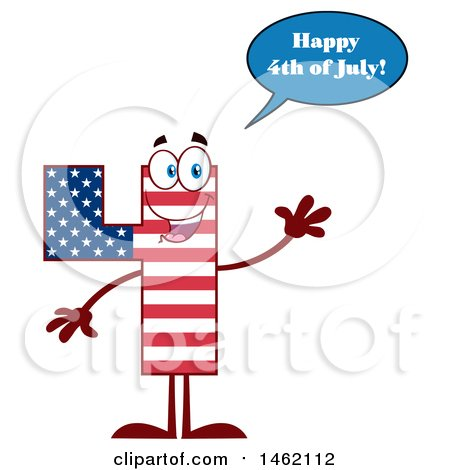 Clipart of a Patriotic American Flag Patterned Number Four Mascot Character Saying Happy 4th of July and Waving - Royalty Free Vector Illustration by Hit Toon