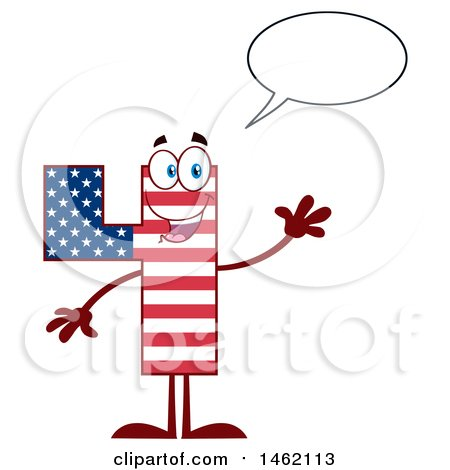 Clipart of a Patriotic American Flag Patterned Number Four Mascot Character Talking and Waving - Royalty Free Vector Illustration by Hit Toon