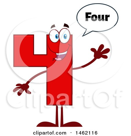 Clipart of a Red Number 4 Mascot Character Saying Four and Waving - Royalty Free Vector Illustration by Hit Toon