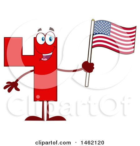 Clipart of a Red Number Four Mascot Character Holding an American Flag - Royalty Free Vector Illustration by Hit Toon