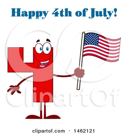 Clipart of a Red Number Four Mascot Character Holding an American Flag Under Happy 4th of July Text - Royalty Free Vector Illustration by Hit Toon