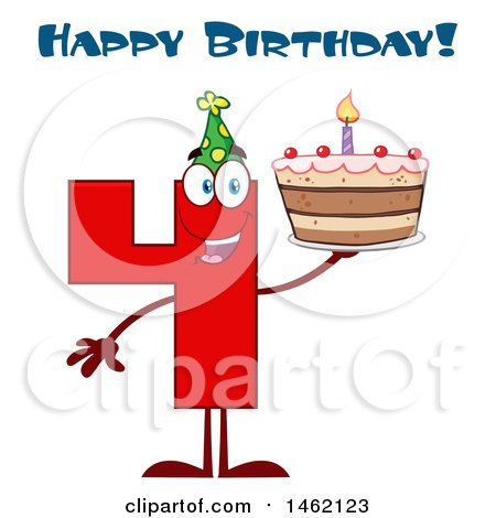 Clipart of a Red Number Four Mascot Character Holding a Birthday Cake Under Text - Royalty Free Vector Illustration by Hit Toon