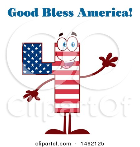Clipart of a Patriotic American Flag Patterned Number Four Mascot Character Waving Under God Bless America Text - Royalty Free Vector Illustration by Hit Toon