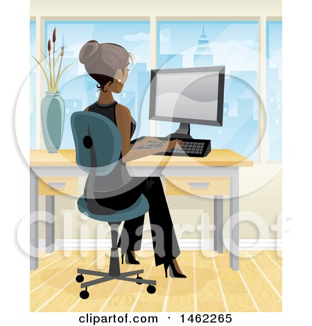 Clipart of an African American Business Woman Working on a Computer in Her City Office - Royalty Free Vector Illustration by Amanda Kate