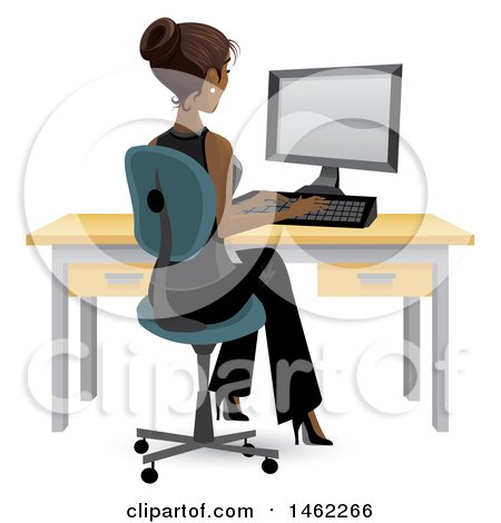 Clipart of an African American Business Woman Working on a Computer at Her Office Desk - Royalty Free Vector Illustration by Character Market