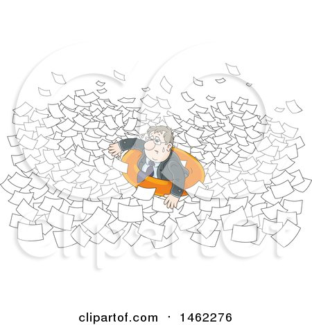 Clipart of a Stressed White Business Man in an Inner Tube, Floating in Paperwork - Royalty Free Vector Illustration by Alex Bannykh