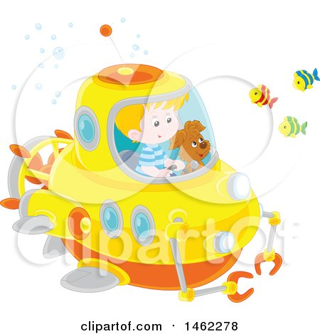 Clipart of a Happy Dog and Caucasian Boy Exploring Underwater in a Submersible - Royalty Free Vector Illustration by Alex Bannykh