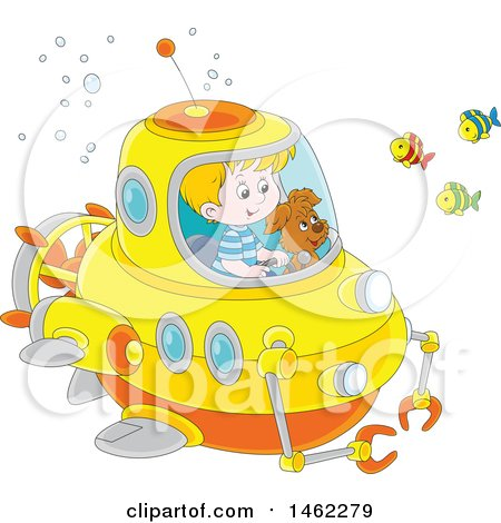 Clipart of a Happy Dog and White Boy Exploring Underwater in a Submersible - Royalty Free Vector Illustration by Alex Bannykh