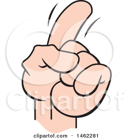 Clipart of a Cartoon Hand Gesture of a Pointing, Wagging or Admonishing Finger - Royalty Free Vector Illustration by Johnny Sajem