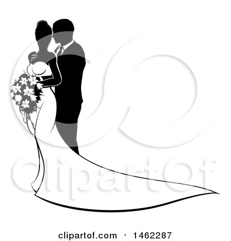 Wedding Clipart Black And White.Clipart Of A Black And White Silhouetted Posing Wedding Bride And