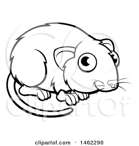 Clipart of a Black and White Vole - Royalty Free Vector Illustration by AtStockIllustration