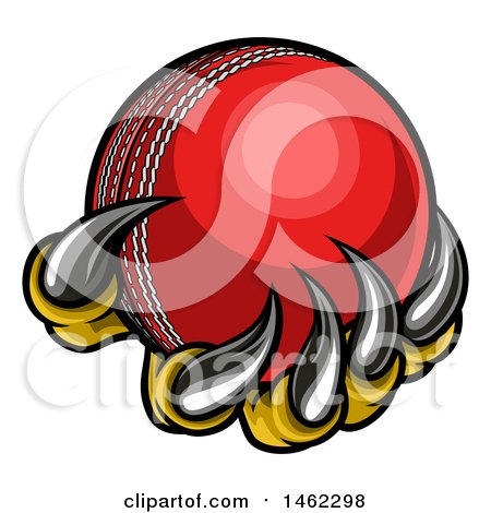 Clipart of Monster or Eagle Claws Holding a Cricket Ball - Royalty Free Vector Illustration by AtStockIllustration
