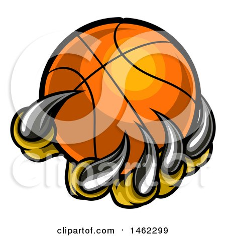 Clipart of Monster or Eagle Claws Holding a Basketball - Royalty Free Vector Illustration by AtStockIllustration