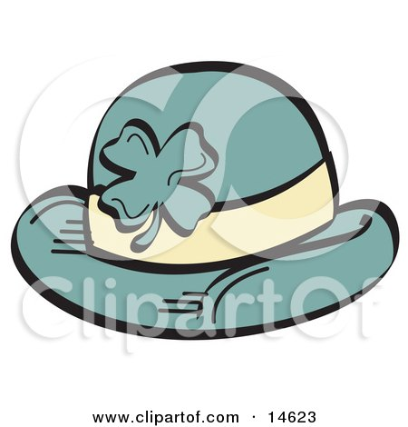 Green St Paddys Day Hat With A Clover On It Clipart Illustration