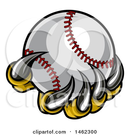 Clipart of Monster or Eagle Claws Holding a Baseball - Royalty Free Vector Illustration by AtStockIllustration