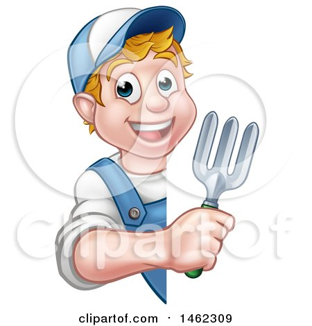 Clipart of a Cartoon Happy White Male Gardener in Blue, Holding a Garden Trowel Around a Sign - Royalty Free Vector Illustration by AtStockIllustration
