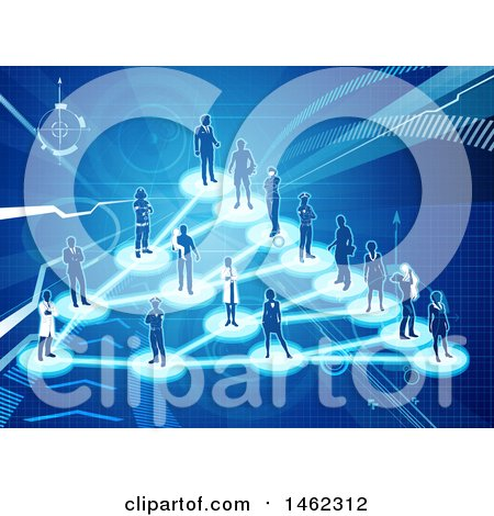 Clipart of a Network of Silhouetted People on a Blue Background - Royalty Free Vector Illustration by AtStockIllustration
