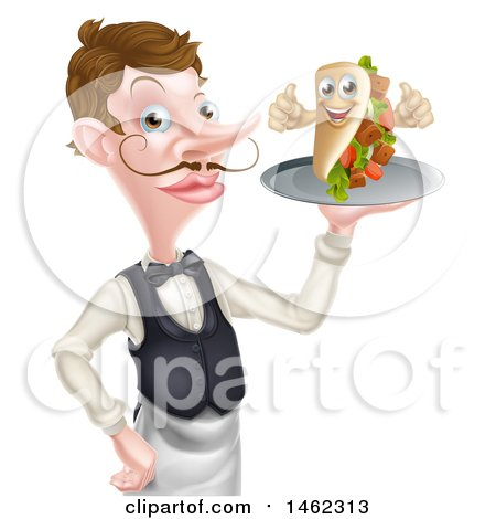 Clipart of a Cartoon Caucasian Male Waiter with a Curling Mustache, Holding a Kebab Sandwich on a Tray - Royalty Free Vector Illustration by AtStockIllustration