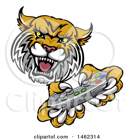 Clipart of a Bobcat Mascot Playing a Video Game - Royalty Free Vector Illustration by AtStockIllustration
