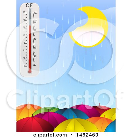 Clipart of a Rainy Sky and Thermometer over Umbrellas - Royalty Free Vector Illustration by elaineitalia