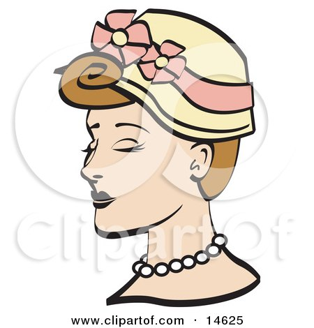 Pretty Young Woman Wearing A Hat With Flowers And A Pearl Necklace Clipart Illustration