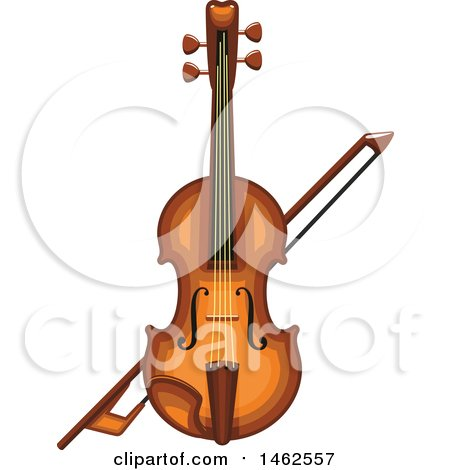 Clipart of a Fiddle and Bow - Royalty Free Vector Illustration by Vector Tradition SM