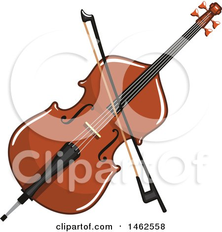 Clipart of a Double Bass and Bow - Royalty Free Vector Illustration by Vector Tradition SM