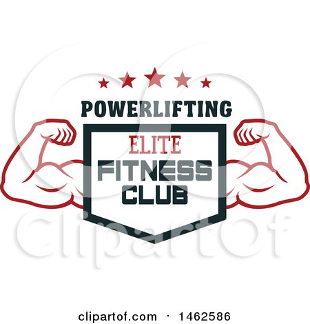 Clipart of a Male Bodybuilders Arms and Shield Text Design - Royalty Free Vector Illustration by Vector Tradition SM