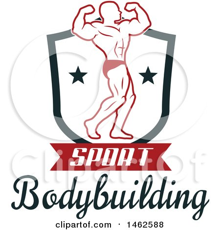 Clipart of a Male Bodybuilder Posing Design - Royalty Free Vector Illustration by Vector Tradition SM