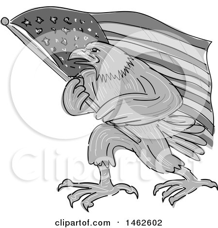 Clipart of a Grayscale Eagle Marching with an American Flag, in Drawing Sketch Style - Royalty Free Vector Illustration by patrimonio