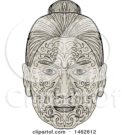 f27892c41 Clipart of a Maori Face with Moko Tattoo, in Drawing Mandala Style -  Royalty Free