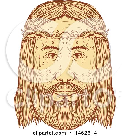 Clipart of the Face of Jesus Christ with Crown of Thorns, in Drawing Sketch Style - Royalty Free Vector Illustration by patrimonio