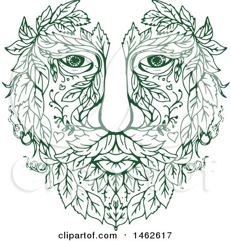 Clipart of a Green Male Face with Leaves, in Drawing Mandala Sketch Style - Royalty Free Vector Illustration by patrimonio