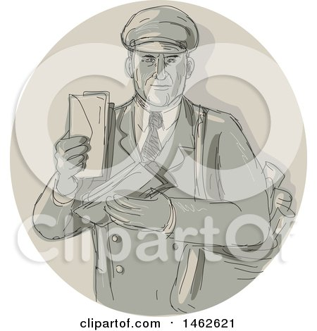 Clipart of a Vintage Mail Man Courier Holding Letters in a Circle, in Drawing Watercolor Style - Royalty Free Vector Illustration by patrimonio