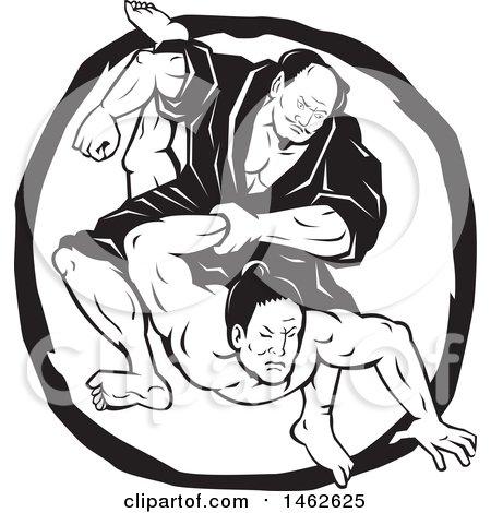 Clipart of a Black and White Samurai Jiu Jitsu Judo Fighting Scene in a Circle - Royalty Free Vector Illustration by patrimonio