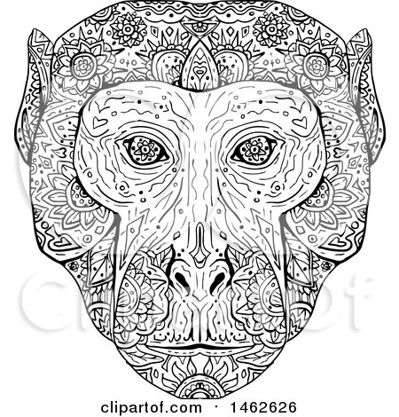 Clipart of a Black and White Rhesus Macaque Face, in Mandala Style - Royalty Free Vector Illustration by patrimonio