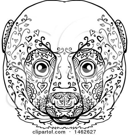 Clipart of a Black and White Lemur Face, in Mandala Style - Royalty Free Vector Illustration by patrimonio